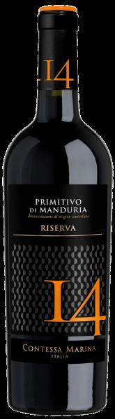 Primitivo di Manduria DOC Riserva 14 Contessa Marina Apulien Rotwein halbtrocken